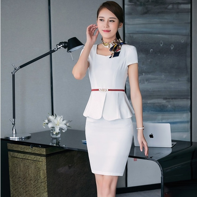 386917e6acda Summer Work Suits With 2 Pieces Tops And Skirt Professional Business Women  Ladies Blazers Outfits Plus Size 3XL With Belt