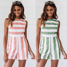 все цены на 2019 summer new fashion print striped women's sexy jumpsuit beach style O-neck sleeveless jumpsuit онлайн