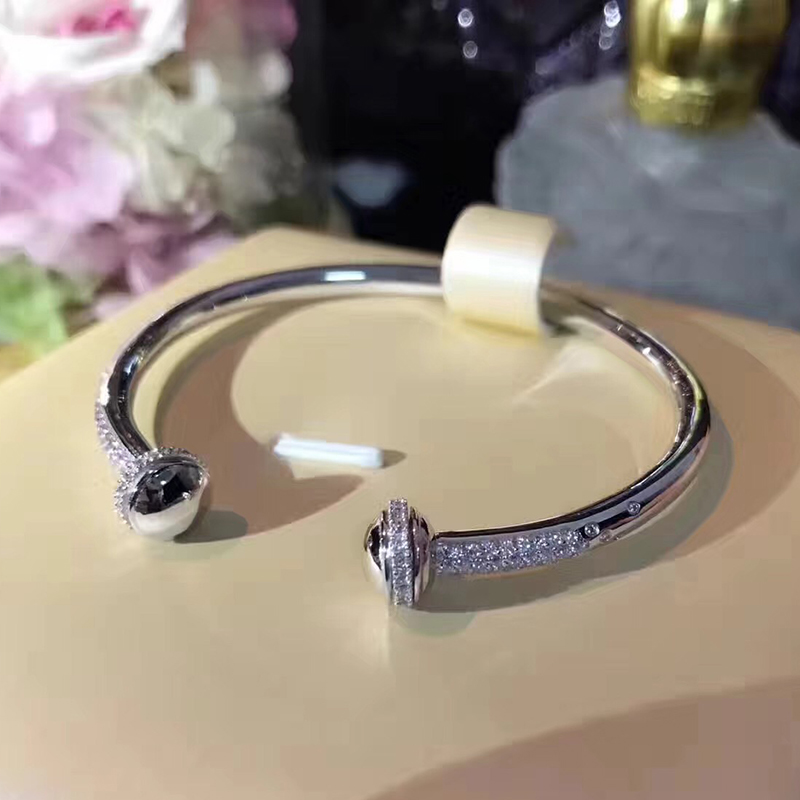 Hot Brand Pure 925 Sterling Silver Jewelry For Women Rotate Ball Bangle Bead Bangle Wedding Jewelry Open Rose Gold Bracelet slovecabin 2017 new unique moment open bangle bracelet for women 925 sterling silver pave stone open bangle for bead diy jewelry
