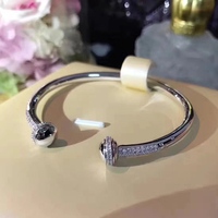 Hot Brand Pure 925 Sterling Silver Jewelry For Women Rotate Ball Bangle Bead Bangle Wedding Jewelry Open Rose Gold Bracelet