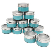 Mayitr 12Pcs Magnetic Spice Jars Set Stainless Steel Rack Holder Lid Tins Storage Container Kitchen Bottle