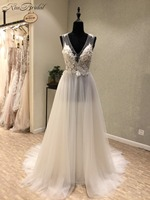 Sexy New Beach Wedding Dresses 2018 V-neck Sleeveless A-Line Floor Length Appliques Chiffon Cheap Bridal Gowns Vestido longo