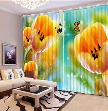 3D Curtain Photo Customize Size Colorful Tulip Flowers Butterfly Curtains For Bedroom Curtains For Living Room(China)