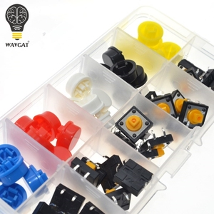 Image 2 - WAVGAT 25PCS Tactile Push Button Switch Momentary 12*12*7.3MM Micro switch button + 25PCS Tact Cap(5 colors) for Arduino Switch