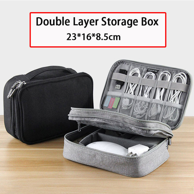 Gadgets Electronicos Double Layer Storage Bag Travel Electronic Accessories Cable Organizer Bag Portable Case Storage Box