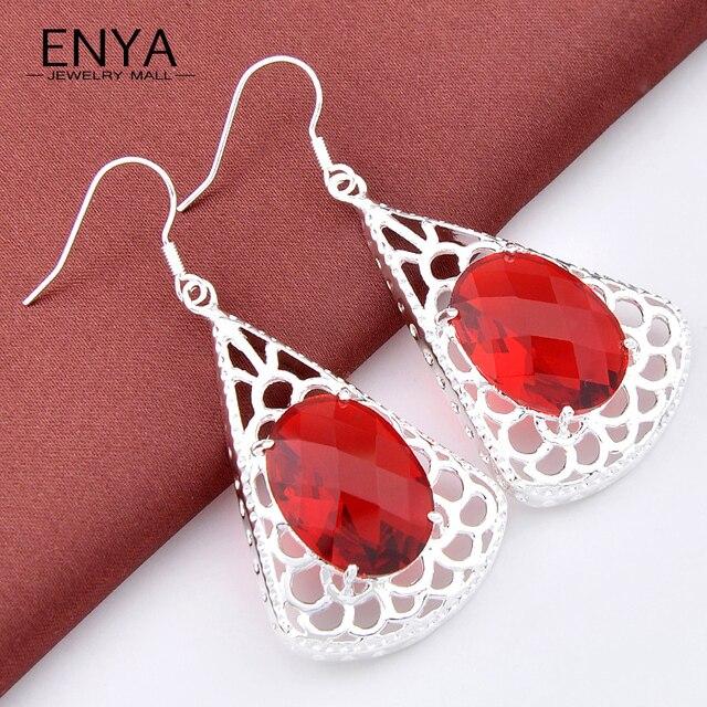 2017 New Accessories Dangle Earrings Luxury Garnet Crystal  Jewelry Wedding Earring For Women Bijoux E0164