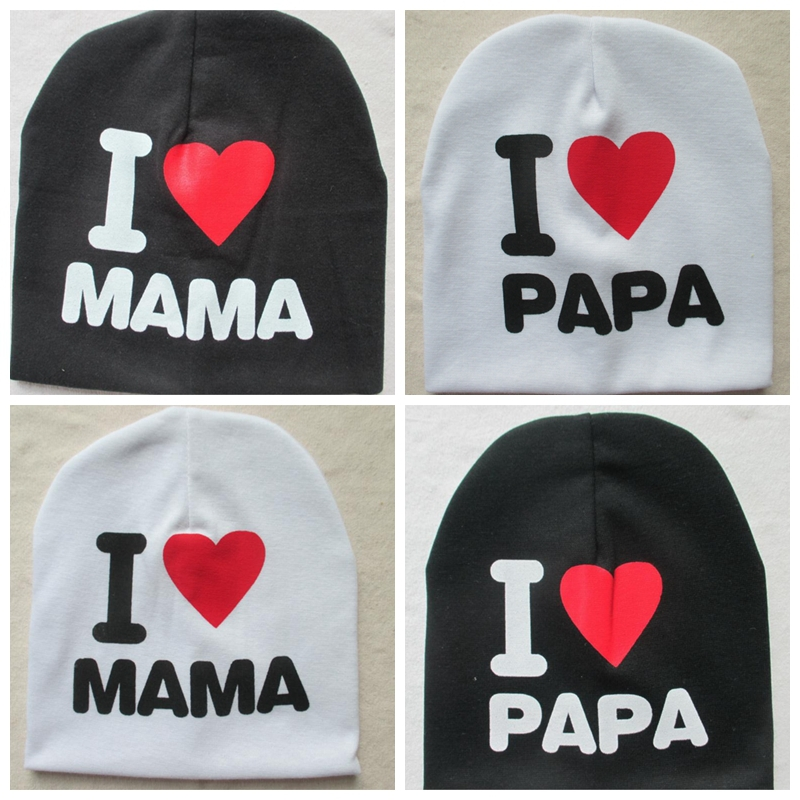 facf9d03d9e Hot Sale New Baby Hat Spring Fall I LOVE PAPA MAMA Print Hats For Boys Girls
