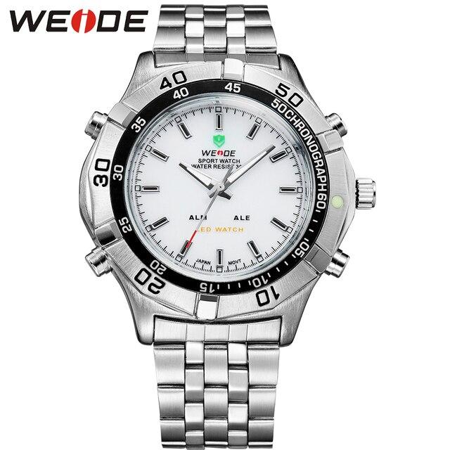 WEIDE Logo New Business Quartz Watch Men Original Sport Military Wrist Watch LED Analog Digital Display Relogio Masculino