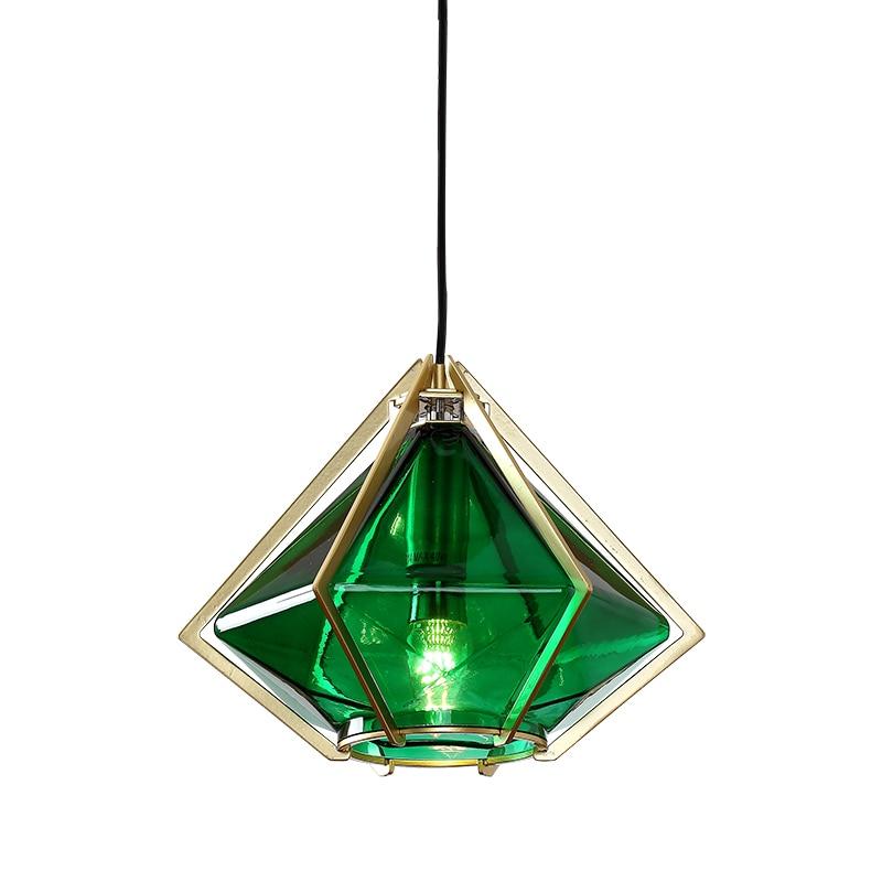 Creative Art Diamond Green Glass Pendant Lamp LED Modern Decoration Light Fixtures for Bar Dining Room Kitchen Living Room in Pendant Lights from Lights Lighting