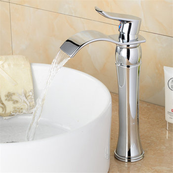 Bathroom Basin Faucet Brass Waterfall Sink Mixer Tap Single Handle Lavatory Deck Mounted Hot & Cold Water Crane Chrome/Gold 1