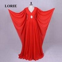 LORIE Rot Abendkleider Frauen Hochzeit Kleid Mit V-ausschnitt Perlen Langarm Importiert China Dubai Arabische Abendkleid Chiffon 2017