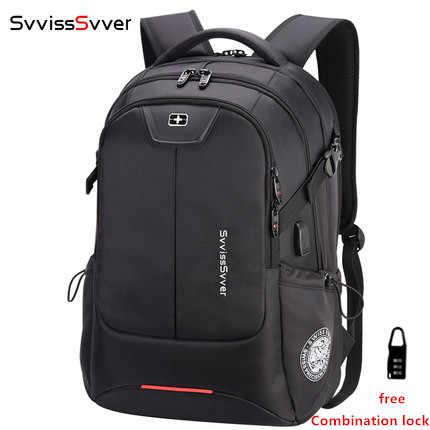 Svvisssvver многофункциональная большая емкость Мужская сумка модная дорожная зарядка через usb Водонепроницаемый Противоугонный 15,6 дюймовый рюкзак для ноутбука для мужчин