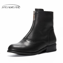 Genuine cow Leather Ankle women chelsea Boots Comfortable quality soft Shoes Brand Designer Handmade winter boots with fur black