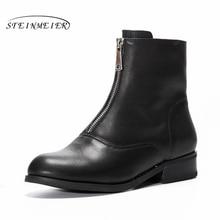 купить Genuine cow Leather Ankle women chelsea Boots Comfortable quality soft Shoes Brand Designer Handmade winter boots with fur black онлайн