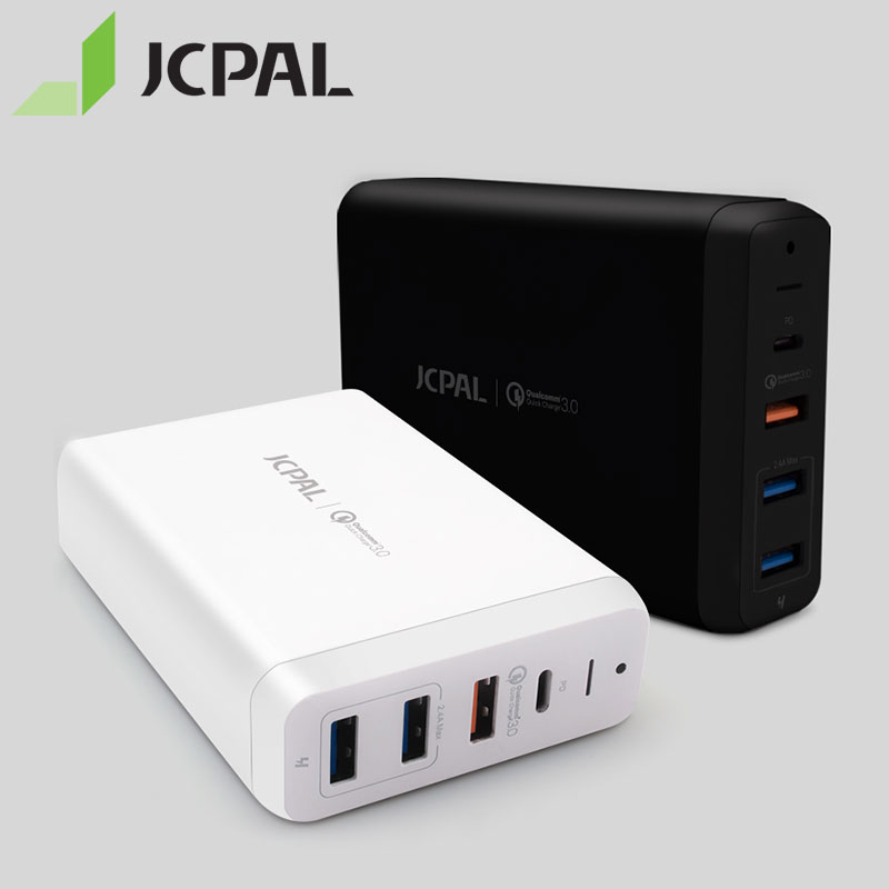 JCPAL USB-C PD Multiport Desktop Charger 60W for MacBook Pro Laptop USB-C Power Delivery 18W QC3.0 Dual USB-A Ports 53311JCPAL USB-C PD Multiport Desktop Charger 60W for MacBook Pro Laptop USB-C Power Delivery 18W QC3.0 Dual USB-A Ports 53311