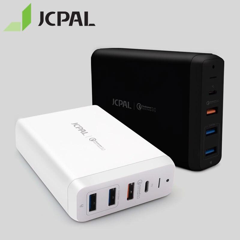JCPAL USB-C PD Multiport chargeur de bureau 60 W pour MacBook Pro ordinateur portable USB-C livraison d'énergie 18 W QC3.0 double USB-A Ports 53311