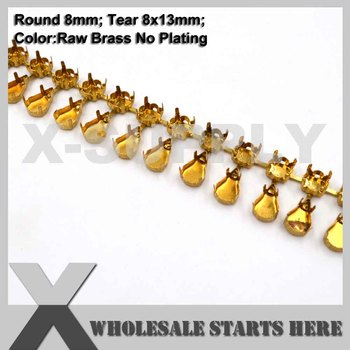 SS38(8mm) Round Empty Cup Chain Without Rhinestones for Craft/Shoe/Jewelry/Apparel (Center Connectors)