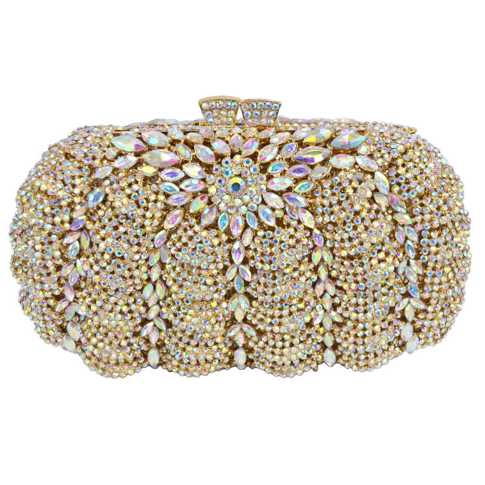 Elegant Luxury Diamond Women Evening Clutch Crystal Party Encrusted Bags Rhinestones Wedding Handbag Metal Clutches Bag 88294 2017 lady hot sale black gold white silver clutch women elegant v diamond design wedding handbag female party bag evening bags