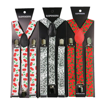 Fashion2.5cm Wide  Floral Print Suspenders  Men Womens  Suspenders Adjustable Clips On Y-Back Braces Elastic 3 Clip Suspenders