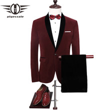Plyesxale Velvet Suit Men 2018 Slim Fit Wedding Suits For Men Shawl Collar High Quality Royal Blue Burgundy Tuxedo Jacket Q258(China)