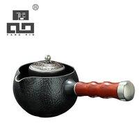 TANGPIN high-end gilt silver japanese ceramic teapot black kettle handmade tea pot japanese tea set drinkware