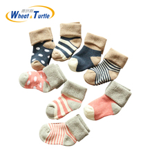 4pairs/Lot Warm Winter Baby Socks Cute Soft Autumn Newborn Girls Stripes & Dots Infant boy Shoe