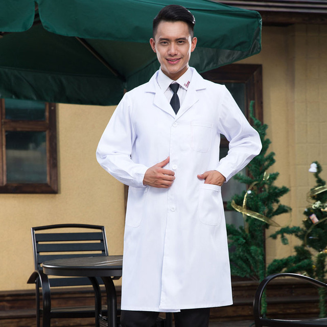 82603bc5e66 Men Medical Clothes Unisex White Lab Coats Nurse Work Wear Uniforms Scrub Medical  Doctor's Long Sleeve Jacket