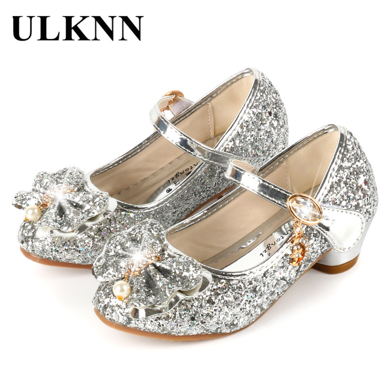 ULKNN Princess Kids Leather Shoes For Girls Flower Casual Glitter Children High Heel Girls Shoes Butterfly Knot Blue Pink Silver ulknn glitter children girls high heel shoes for kids princess sandals bowtie knot infant baby girls shoes for party and wedding