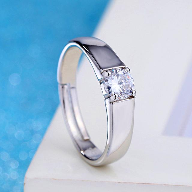 Adjustable White Couple Wedding Rings for Women