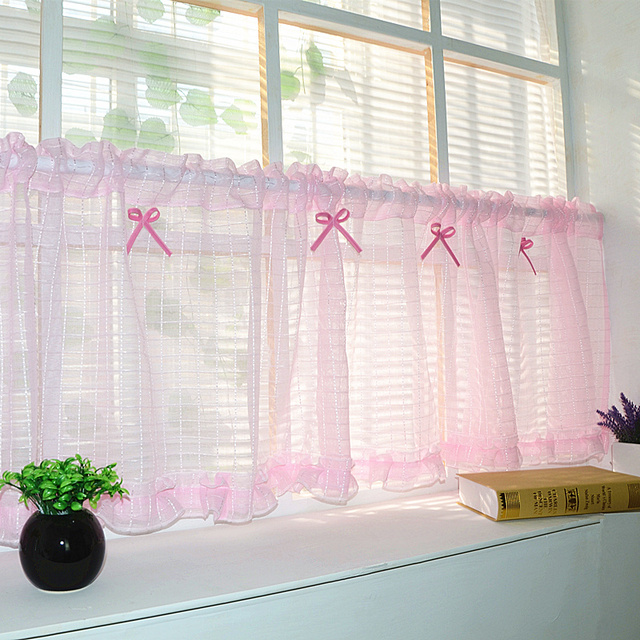 Kitchen Unit Curtains: Kitchen Door Short Curtain Pink Color Coffee Tulle Sheer