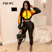 FQLWL Pu Leather Women Two Piece Set Outfits Crop Top And Leather Pants Long Sleeve Jackets Tracksuit Women Casual Matching Set