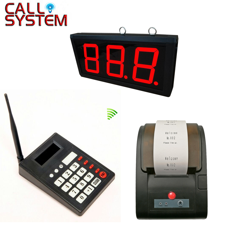 Queue Call Management System 3-digit number Large display receiver with number ticket thermal printer restaurant kitchen call system k 999 302 with 1 pcs keypad and 1 pcs display showing 2 digit number