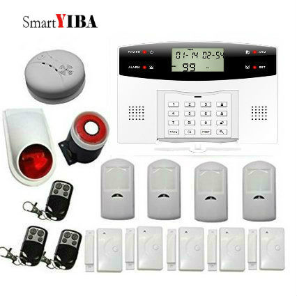 SmartYIBA GSM SMS Wireless Home Security Intruder Alarm System with Smoke Detector Metal Remote Control Motion Sensor Door Alarm wireless remote control power socket smart rf socket control power for home appliance compatible with g90b wifi gsm sms alarm