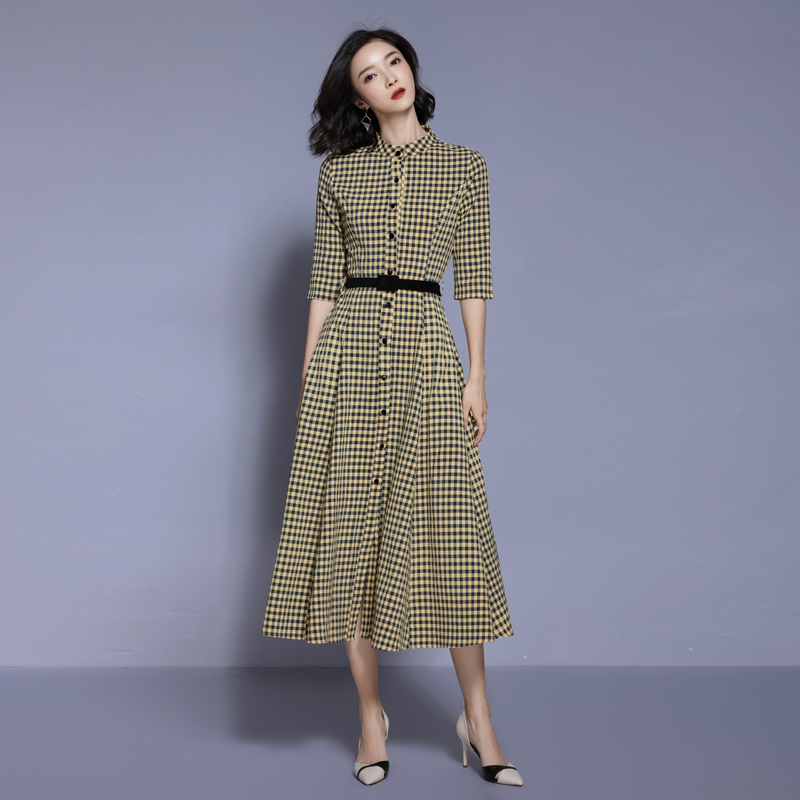 c03ced900b73 Yellow Plaid Women Big Swing Dress 2019 Spring High Waist Runway Half  Sleeve Office Ladies Work Mid-calf Length Dress With Belt