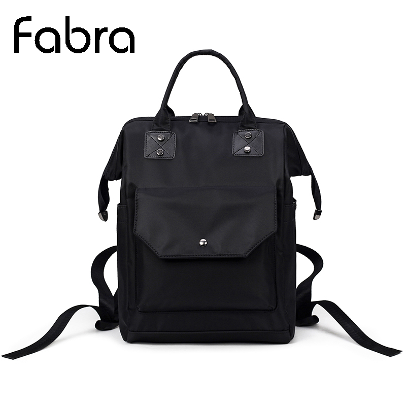 Fabra Waterproof Nylon Women Backpack Fashion Black Embroidery Shoulder Back Bag Preppy Style Mother Backpack for Teenage Girls small waterproof nylon women backpack fashion black shoulder back bag preppy style backpacks for teenage girls 24 13 30 cm s1392