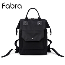 Fabra Waterproof Nylon Women Backpack Fashion Black Embroidery Shoulder Back Bag Preppy Style Mother Backpack for Teenage Girls