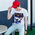 2017 Fashion Super Mario T-shirt Cartoon Character Printed Short Men T Shirt Super Mario Bros Tee Shirts White Cotton Male Tops
