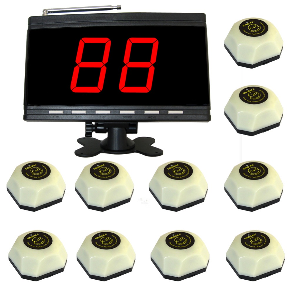 wireless waiter calling system.paging button for coffee shop. 10 bell and 1 display panel receiverwireless waiter calling system.paging button for coffee shop. 10 bell and 1 display panel receiver