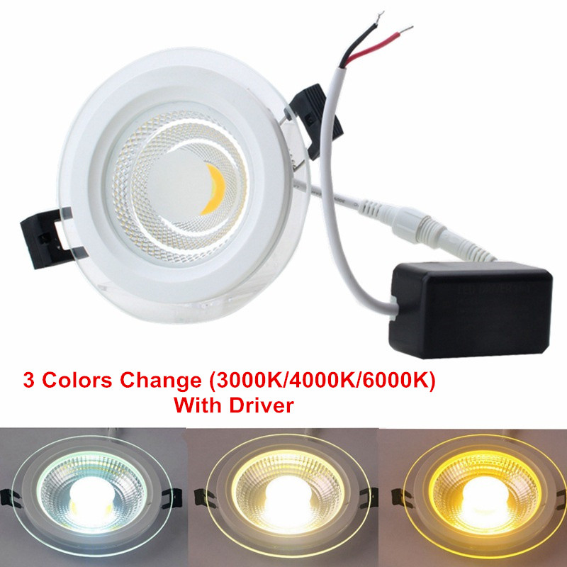 5W 10W 15W 25W 3 Colors Change LED Downlight Round Glass Cover Lights High Bright COB Ceiling Recessed Lamps AC85-265 + Driver