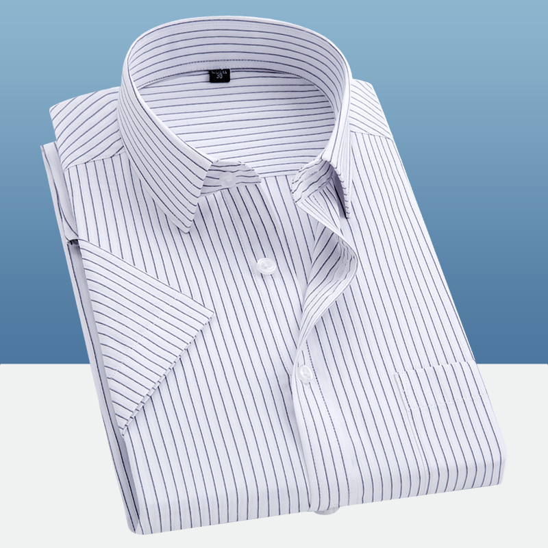 Short Sleeve Striped Shirts Men's Casual Shirt Chemise Homme Summer New Fashion Square Collar Professional Shirt Men