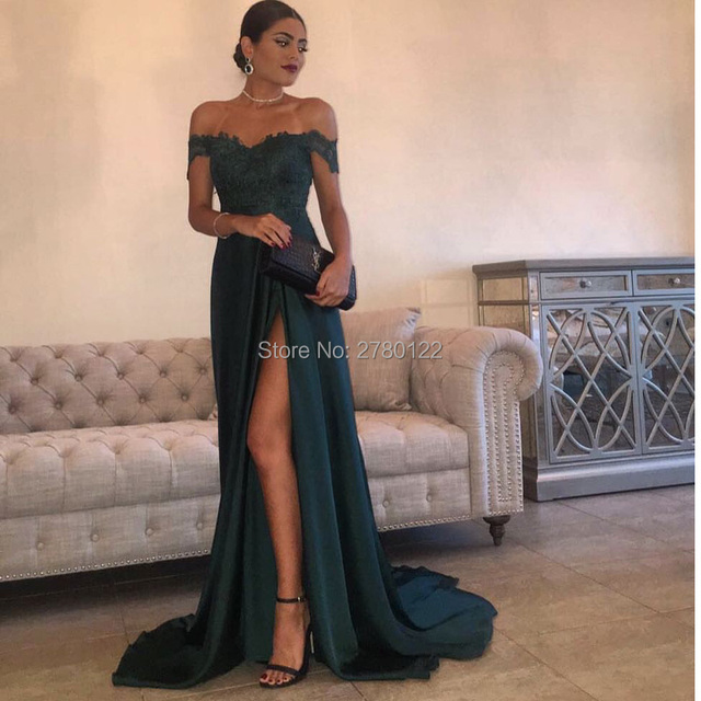 5f1cb19a2f77b A Line Navy Green Chiffon High Split Cutout Side Slit Lace Top Sexy Hot Formal  Party