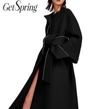 Getвесна, Женское пальто, женские тренчи, стоячий воротник, бандажный длинный Тренч, черный, раздельный, ассиметричный, плюс, для женщин, мода