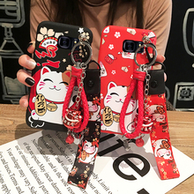 For Samsung s20plus /s9 /s8 plus case cute Cat phone cover for Galaxy note 20 shell cartoon lucky cat +bell +hand straps