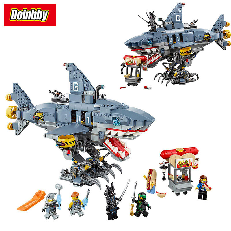Lepin 06067 Ninja Movie Lloyd Save Nomis GARMADON Shark Mech Building Block Bricks Toys Kids Gifts Compatible Ninjagoes 70656 lepin 663pcs ninja killow vs samurai x mech oni chopper robots 06077 building blocks assemble toys bricks compatible with 70642
