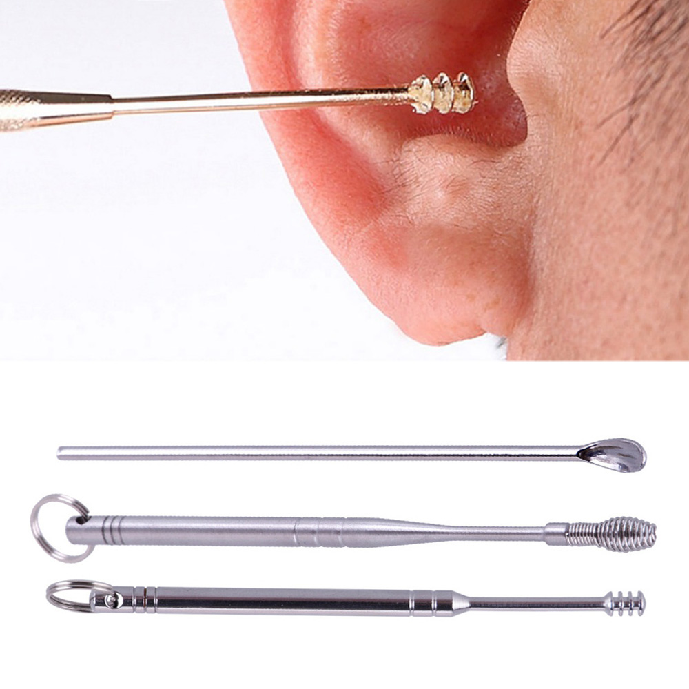 3pcs/Lot Stainless Steel Silver Earpick Wax Remover Curette Cleaner Health Care Tools Ear Pick 3 Kinds Of Handle Design #278201