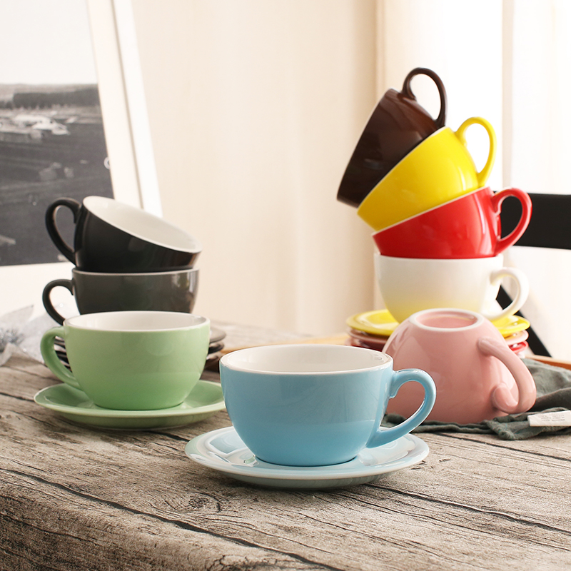US $19 91 17% OFF|300 ml colorful thick body new bone china coffee cups and  saucers ,ceramic latte cups & saucers-in Coffee Cup & Saucer Sets from