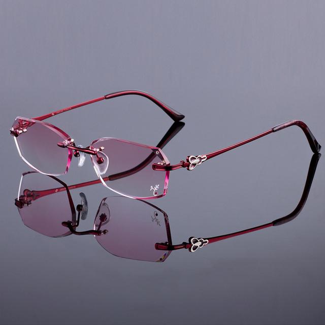 Mulheres marca de moda óculos de armação sem aro mulheres titanium alloy quadro óculos sem aro de diamante corte corte com matiz gradiente lente