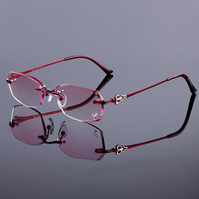Trendy Brand Women Rimless Frame Women Titanium Alloy Glasses Frame Diamond Trimming Cut Rimless Glasses With Gradient Tint Lens