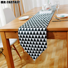 Simple Nordic Style Geometric Pattern Ins Cotton Table Runner Black White  Decoration Plant Printed Teapoy Fridge