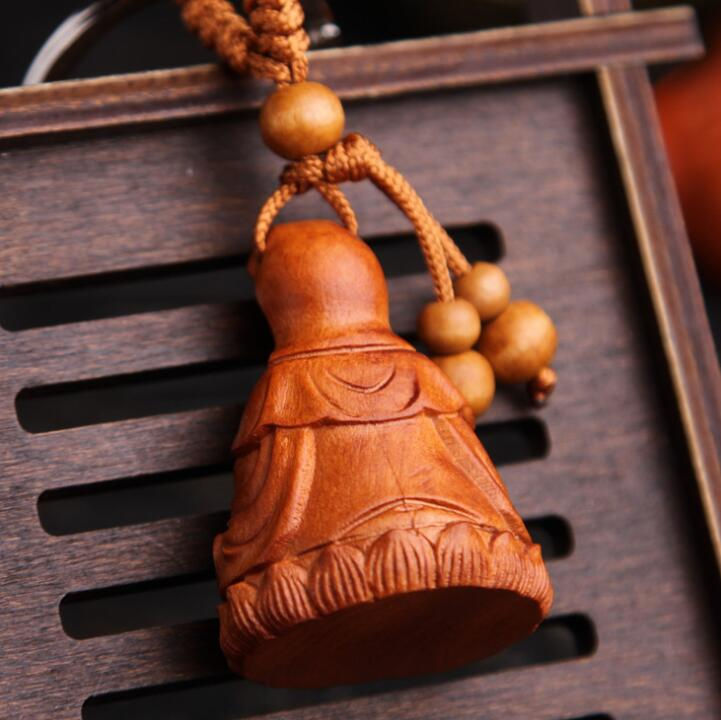 Exquisite Peach Wood Wooden Handicraft Ornaments Carving Lotus DIY Home Decor